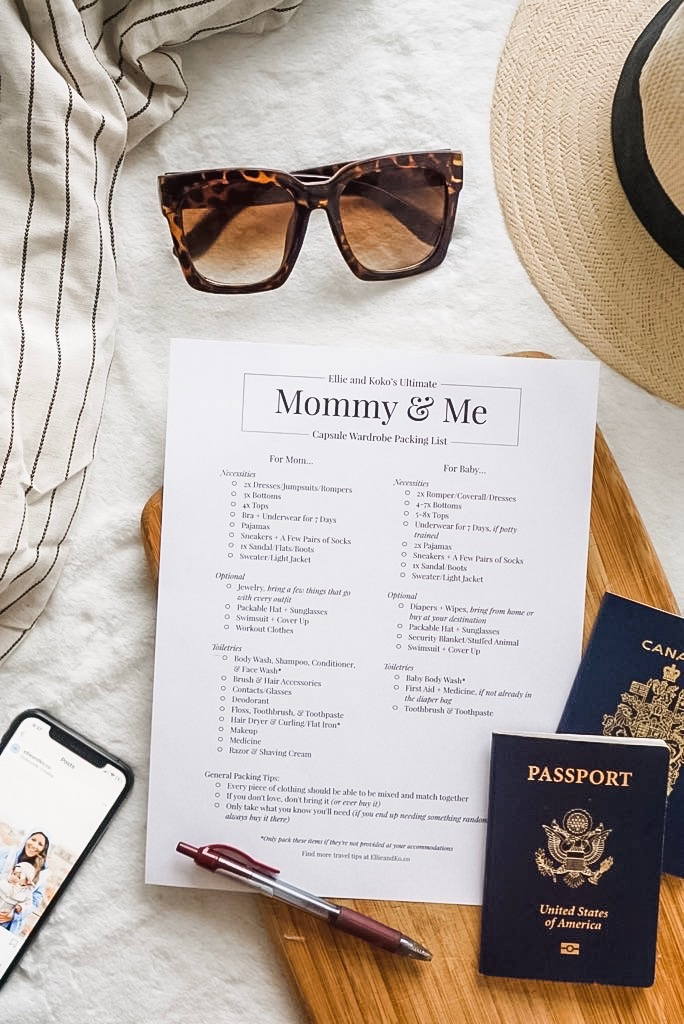 Free Mommy & Me Packing Checklist - Never overpack again with the mom-approved packing list. A free download from Ellie & Ko.co, inspiring moms to travel
